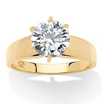 3 TCW Round Cubic Zirconia 14k Gold over Sterling Silver Solitaire Bridal Engagement Ring
