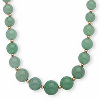 Genuine Green Jade Beaded 10k Yellow Gold Graduated Necklace 18""