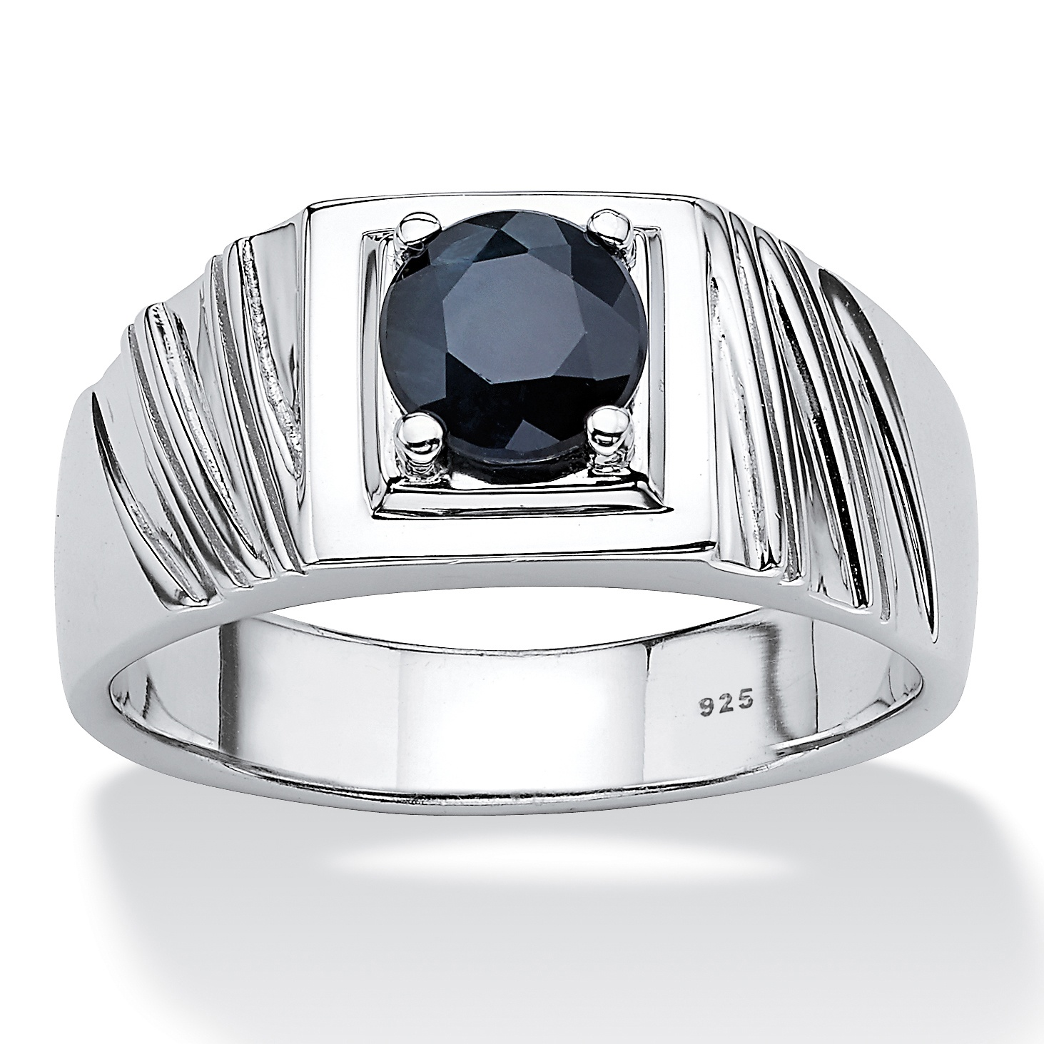 Men S 1 41 Tcw Round Midnight Blue Genuine Shire Sterling Silver Clic Ring At Palmbeach Jewelry