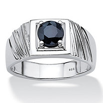 SETA JEWELRY Men's 1.41 TCW Round Midnight Blue Genuine Sapphire Sterling Silver Classic Ring