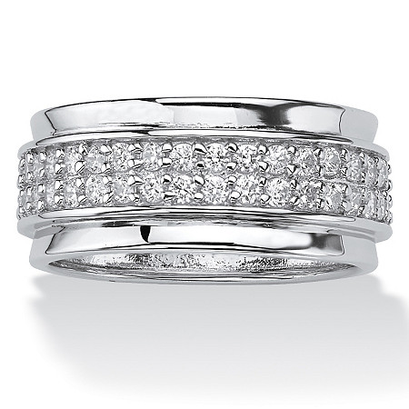 .90 TCW Round Cubic Zirconia Sterling Silver Eternity Band at PalmBeach Jewelry