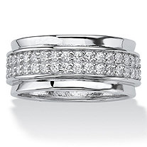 SETA JEWELRY .90 TCW Round Cubic Zirconia Sterling Silver Eternity Band