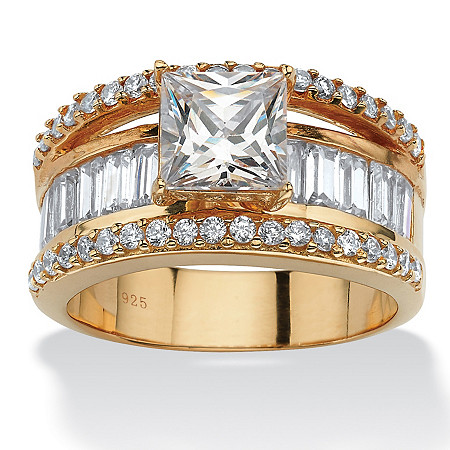 3.63 TCW Emerald-Cut Cubic Zirconia 18k Gold over Sterling Silver Engagement/Anniversary Ring at PalmBeach Jewelry