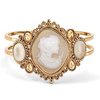 Vintage-Style Cameo Hinged Bangle Bracelet in Yellow Gold Tone 7.5""