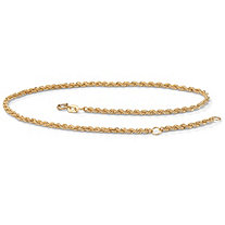 "10k Yellow Gold Tailored Rope Ankle Bracelet Adjustable 9"" to 10"""