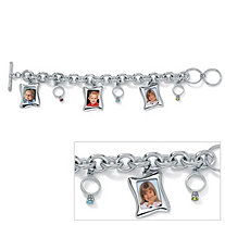 Birthstone Baby Ring and Photo Frame Charm Bracelet 8""