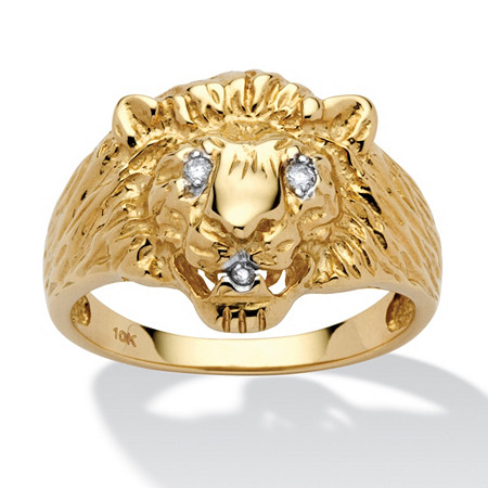 Men's Diamond Accent Solid 10k Yellow Gold Lion's Head Ring at PalmBeach Jewelry