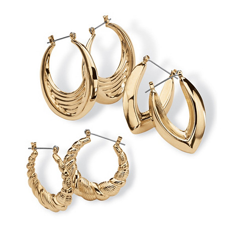 "3 Pair Hoop Earrings Set in Yellow Gold Tone (1 1/2"") at PalmBeach Jewelry"
