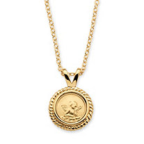 Guardian Angel Charm Necklace 14k Yellow Gold-Plated 18""