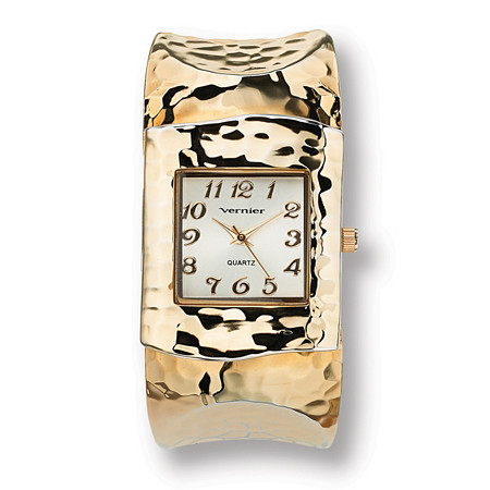 Hammered-Style Cuff Watch in Yellow Gold Tone at PalmBeach Jewelry