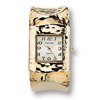 SETA JEWELRY Hammered-Style Cuff Watch in Yellow Gold Tone
