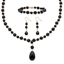 "Pear-Cut and Round Genuine Onyx ""Y"" Style Beaded Necklace, Bracelet and Drop Earring Set in 10k Yellow Gold"