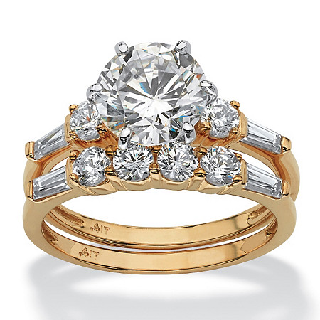 2 Piece 3.60 TCW Round Cubic Zirconia Bridal Ring Set in Solid 10k Gold at PalmBeach Jewelry