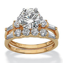SETA JEWELRY 2 Piece 3.60 TCW Round Cubic Zirconia Bridal Ring Set in Solid 10k Gold
