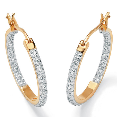 1/10 TCW Round Diamond Accented Inside-Out Hoop Earrings in 18k Gold over Sterling Silver at PalmBeach Jewelry