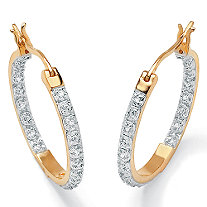 Round Diamond Accented Inside-Out Hoop Earrings 1/10 TCW in 18k Gold over Sterling Silver (1