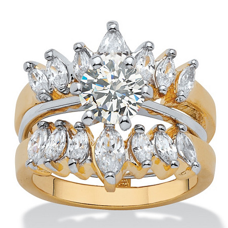 2.95 TCW Round and Marquise-Cut Cubic Zirconia 14k Yellow Gold-Plated Two-Tone Wedding Ring Set at PalmBeach Jewelry
