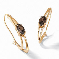 "4.90 TCW Genuine Marquise-Cut Smoky Quartz Oblong Double Hoop Earrings 14k Yellow Gold-Plated 2"" Length"