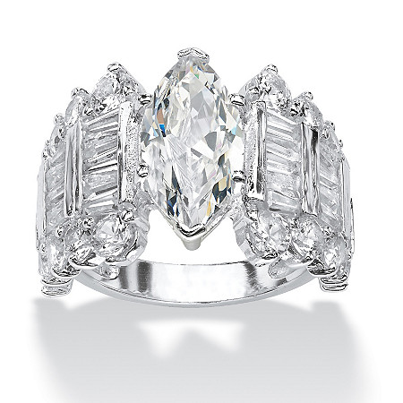 6.54 TCW Marquise-Cut and Baguette Cubic Zirconia Engagement Anniversary Ring in Silvertone at PalmBeach Jewelry
