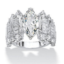 SETA JEWELRY 6.54 TCW Marquise-Cut and Baguette Cubic Zirconia Engagement Anniversary Ring in Silvertone
