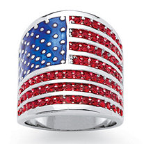 Round Simulated Red Ruby Patriotic American Flag Wide Band Ring 2.08 TCW in Silvertone
