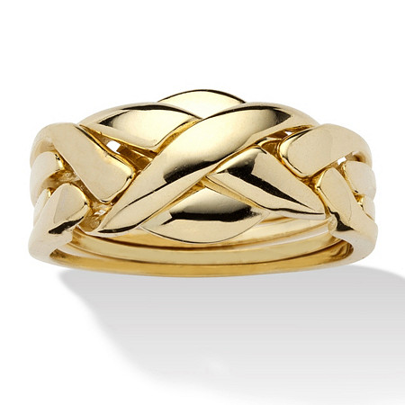 14k Yellow Gold-Plated Braided Puzzle Ring at PalmBeach Jewelry