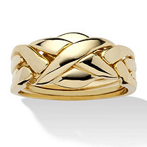 14k Yellow Gold-Plated Braided Puzzle Ring