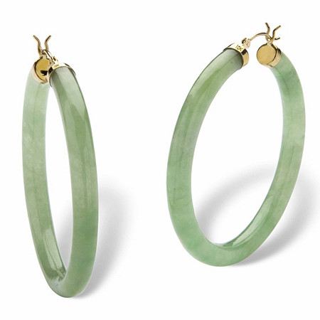 Genuine Green Jade 10k Yellow Gold Hoop Earrings (1 3/4
