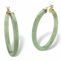 "Genuine Green Jade 10k Yellow Gold Hoop Earrings (1 3/4"")"