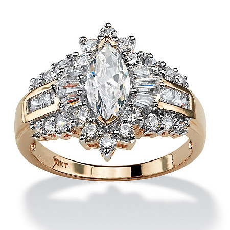 2.19 TCW Marquise-Cut Cubic Zirconia Halo Engagement Ring in 10k Gold at PalmBeach Jewelry