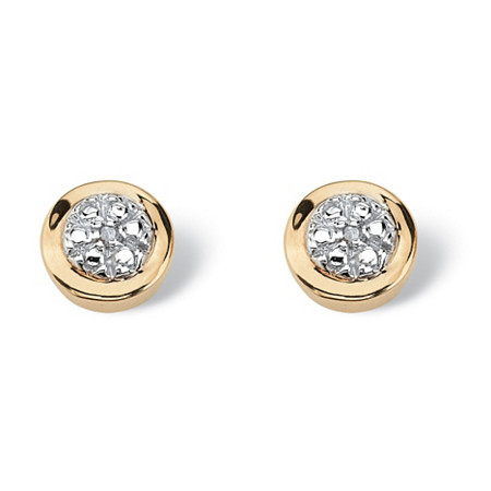 Round White Diamond Accent Cluster Stud Earrings in Solid 10k Yellow Gold at PalmBeach Jewelry