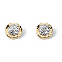 Round White Diamond Accent Cluster Stud Earrings in Solid 10k Yellow Gold