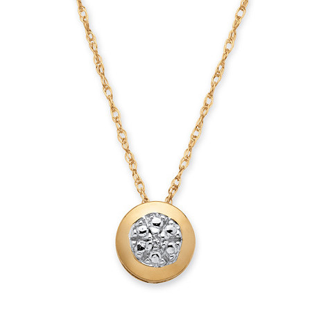 Round White Diamond Accent Slide Pendant Necklace in Solid 10k Yellow Gold 18