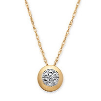 Round White Diamond Accent 10k Yellow Gold Slide Pendant Necklace 18""