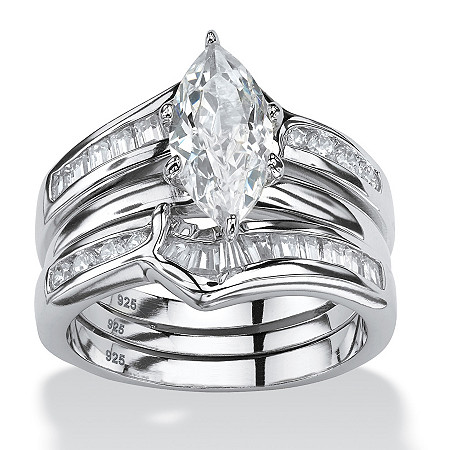 3 Piece 3.56 TCW Marquise-Cut Cubic Zirconia Jacket Bridal Ring Set in Sterling Silver at PalmBeach Jewelry