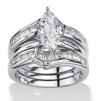SETA JEWELRY 3 Piece 3.56 TCW Marquise-Cut Cubic Zirconia Jacket Bridal Ring Set in Sterling Silver
