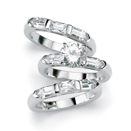 4.35 TCW Round Cubic Zirconia Sterling Silver 3-Piece Bridal Engagement Ring Wedding Band Set at PalmBeach Jewelry