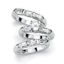 4.35 TCW Round Cubic Zirconia Sterling Silver 3-Piece Bridal Engagement Ring Wedding Band Set