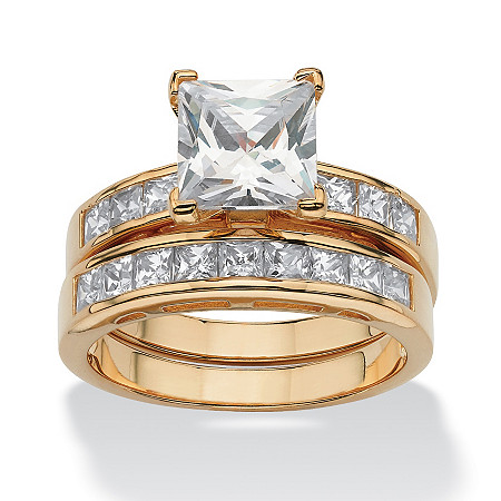 3.65 TCW Cubic Zirconia Bridal Ring Set in 18k Gold over .925 Sterling Silver at PalmBeach Jewelry