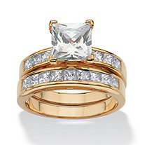 3.65 TCW Cubic Zirconia Bridal Ring Set in 18k Gold over .925 Sterling Silver
