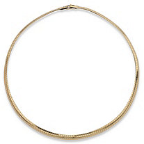 SETA JEWELRY Omega Link Choker Necklace in Yellow Gold Tone 16