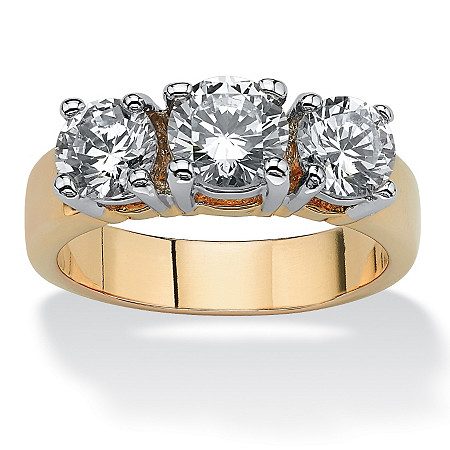 2.28 TCW Round Cubic Zirconia Three-Stone Anniversary Ring 14k Gold-Plated at PalmBeach Jewelry