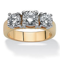 SETA JEWELRY 2.28 TCW Round Cubic Zirconia Three-Stone Anniversary Ring 14k Gold-Plated
