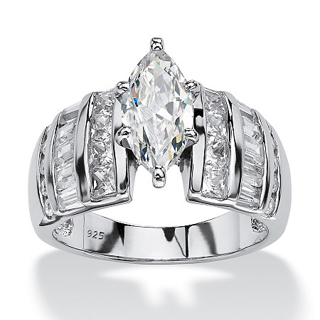 3.87 TCW Marquise-Cut Cubic Zirconia Engagement Anniversary Ring in Platinum over Sterling Silver at PalmBeach Jewelry