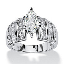 SETA JEWELRY 3.87 TCW Marquise-Cut Cubic Zirconia Engagement Anniversary Ring in Platinum over Sterling Silver
