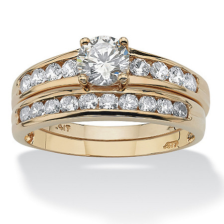 2 Piece 1.06 TCW Round Cubic Zirconia Bridal Ring Set in 10k Gold at PalmBeach Jewelry
