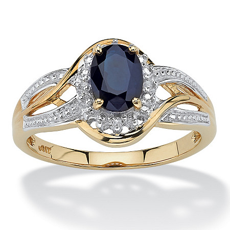 10k Yellow Gold Oval Blue Sapphire and Round Diamond Accent Crossover Ring at PalmBeach Jewelry