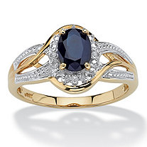 10k Yellow Gold Oval Blue Sapphire and Round Diamond Accent Crossover Ring