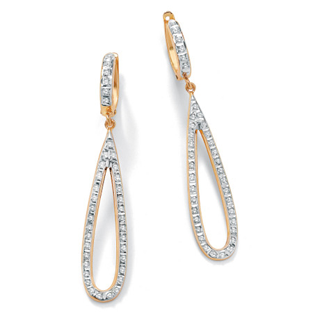 Diamond Accent 14k Yellow Gold Pear-Shaped Diamond Fascination Drop Earrings at PalmBeach Jewelry