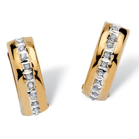 Diamond Fascination Huggie-Hoop Earrings in 14k Yellow Gold at PalmBeach Jewelry